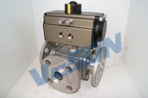 China SS Material Pneumatic Shut Off Valve / Three Way Ball Valve For Pipe Line on sale