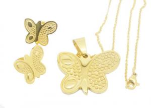 China Butterfly Pendant Necklace Stainless Steel Jewelry Set For Women , Personalized on sale