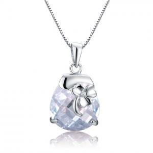 China Lucky Clover silver pendant embed with CZ stones on sale