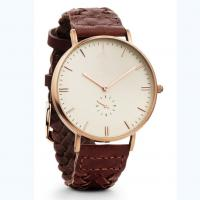 Brown woven leather strap customizable watches with small second hand
