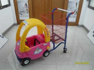 China 95L Low Carbon Steel / Plastic Children Shopping Cart With Red Powder Coating on sale