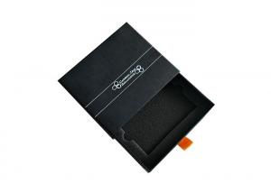 China Color Black Paper Matchbox Slide Box , Slide Out Gift Box With Foam Insert on sale
