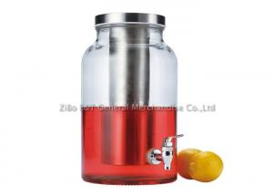 China 1.5 gallons glass beverage dispenser with ice chamber / drink dispenser with infuser for party & bar on sale