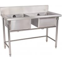 Silver Stainless Steel Double Compartment Sink 1.2mm For Restaurant With MDF