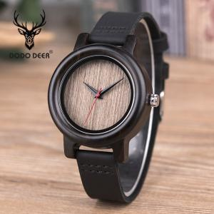China Wood Men Business Sandal Case Fashion  wooden Wristwatch with Leather Strap on sale