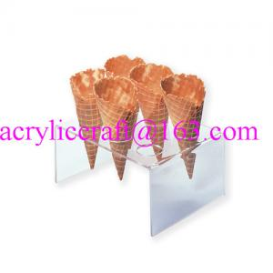 China 6 holes acrylic waffle cone tray, transparent acrylic ice cream cone holder on sale