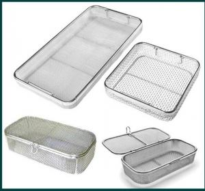 China Medical Grade Stainless Steel Mesh Tray With Drop Handles For Washing Or Sterilization on sale