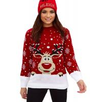 Woman Funny Christmas Moose Patterned Round Neck Sweater Pullover Style