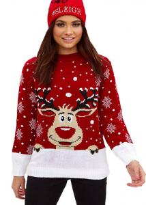 China Woman Funny Christmas Moose Patterned Round Neck Sweater Pullover Style on sale
