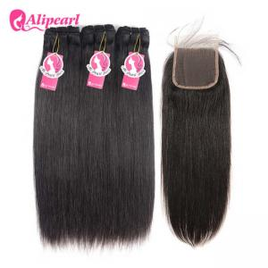 China Straight Wavy Hair Mink Brazilian Black Weave Hairstyles Hair 3 Bundles Deals With Closure on sale