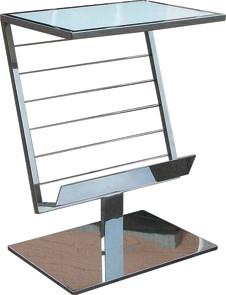 Quality Metal Glass Magazine Rack , Shiny Stainless Steel Sitting Room Furniture , Book and Magazine Rack for sale