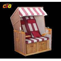 Leisure Rattan Wooden Chair Outdoor Furniture Beach Chair Two Seat Red / White Color