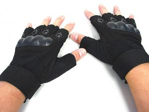 China Half Finger Tactical Gloves,Made By Leather, PVC And Nylon Fiber on sale