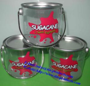 China PET/PVC Bucket with Metal Handle for Candy with food Grade can touch directly on sale