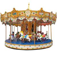 Outdoor Luxury Swing Theme Park Carousel Horse Ride With LED Lights And Music