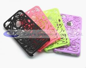 China Custom Colored Hollowed Rose iPhone 4S Silicon Cases Covers Accessories for Cell Phone on sale