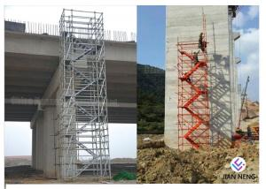 China Galvanized Zinc Plating Stairwell Scaffold Tower , Cuplock Stair Tower With 1.2m Width on sale