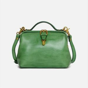 China Retro Green Full Grain Vegetable Tanned Leather Messenger Bag purse on sale
