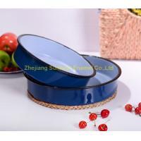 ST-T001 24*6cm dimension cast iron blue color enamel round tray