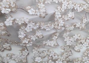 China Hand Cut Beads Water Soluble Lace Fabric Embroidery Designs 3d Knitted Technics on sale