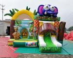 Safari Park Inflatable Bouncy Castles Digital Printing Combi Slide Bouncer