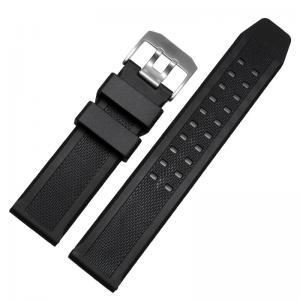 China 23mm TPU Silicone Watch Strap For Luminox Black Buckle Silver / PVD on sale