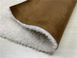 China 550GSM Suede Leather Fabric Bonded With Faux Fur Normal Peeling Strength on sale