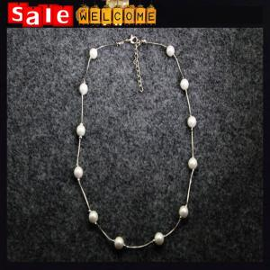 China Simple Pearl Beads Strings Silver Thin Strip Short Clavicle Necklace Chain Pendant Jewelry on sale