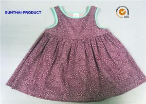 China Sleeveless Little Girl Summer Dresses Shirring At Yoke Contrast Binding Dress on sale