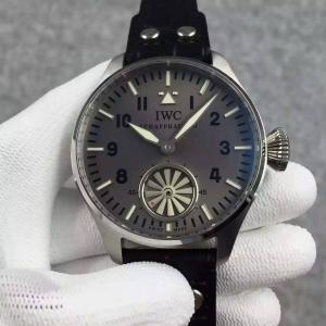 China IWC Big Pilot 46mm Turbine Hand Movement Gray Dial Watch Black Leather Strap on sale