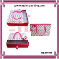 Made-in-China Square cardboard paper sliding drawer Box with ribbon handle for kids shoe