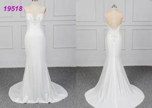 China OEM Sexy A Line Ball Gown Wedding Dress Bridal Wear Crepe Halter Lace With Beading on sale