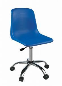 China Blue Plastic Swivel Chair Armless  on sale