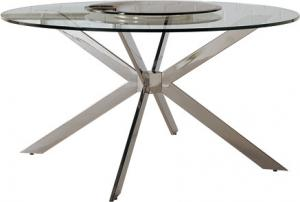 Quality Round Glass Dining Table Set, Shiny Stainless Stee Top Dining Table for sale