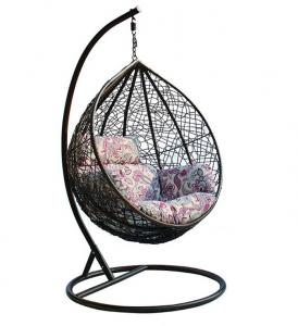 China Outdoor Patio PE Rattan Swing Chair With Metal Frame Cheap Egg shaped Hanging Chair on sale