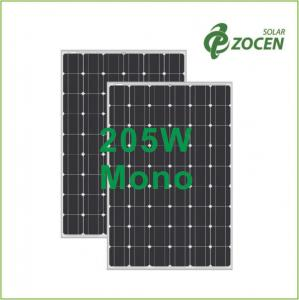 China Laminated 205W 36V Monocrystalline Solar Panels With Anti - Reflective Coating on sale