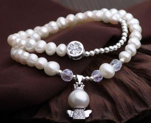 China Sterling silver beads ivory pearl bracelet natural freshwater pearl wedding jewelry on sale