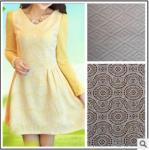 Classifique a tela feita malha do jacquard do laço/o vestido longo da luva tela fina