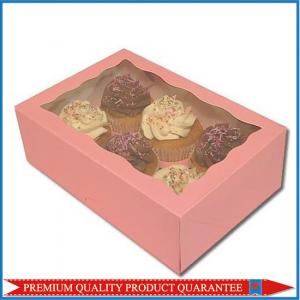 China Pink Color Custom Print Paper Food Grade Packaging Box with Clear Window on sale