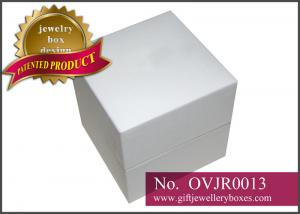 China Rechargeable silkscreen white fancy paper Gift Jewellery Boxes / engagement diamond ring boxes / Double ring box on sale