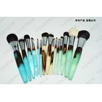 China Wooden Handle Makeup Cosmetic Brush Set Synthetic Hair Aluminum Ferrule Material on sale