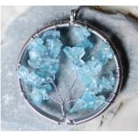 Natural Crystal Quartz Gemstone Beaded Jewelry , Round Wire Wrap Stone Bead Tree Of Life Pendant For Necklace