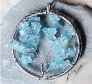China Natural Crystal Quartz Gemstone Beaded Jewelry , Round Wire Wrap Stone Bead Tree Of Life Pendant For Necklace on sale
