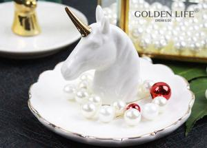 China Creative Unicorn Ceramic Jewelry Tray Bedroom Bedside Trinkets Decoration Dish for Holding Small Jewelries, Rings, Neck on sale
