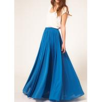 Blue Pleated Jersey Maxi Womens Summer Skirts Customized And Casual