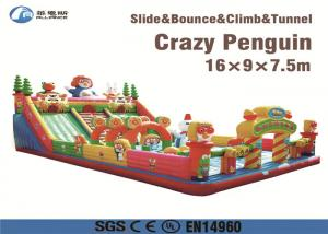 China amusment park kids game crazy penguin pororo inflatable slide on sale