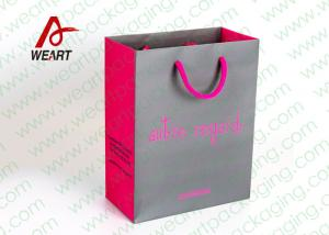 China Grey & Pink Coloured Paper Gift Bags For Weddings 210gsm Material on sale