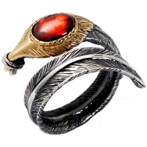 China Red Agate Oxidized Feather 925 Sterling Silver Adjustable Ring (052639RED) on sale