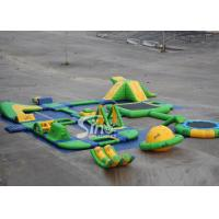 25x24 mts green N yellow giant inflatable water park for kids N adults with water trampoline, water seesaw N water spinn