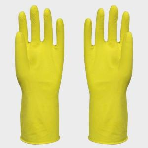 China Spray Flocklined Household Latex Gloves 30cm With Small / Medium / Large Size on sale